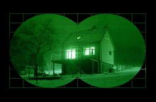 House During Night Through Night Vision