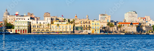Poster Havana Panoramic view of Old Havana in Cuba with several seaside colorful buildings and landmarks