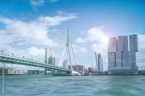 Aluminium Prints Rotterdam Erasmusbrücke in Rotterdam