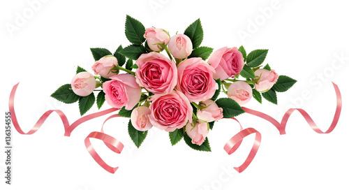 Pink rose flowers and ribbons arangement © Ortis