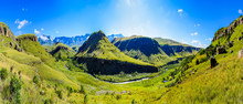 South Africa Drakensberg Giants Castle Scenic Panoramic Impressive Landscape View - Green Wide Panorama With Sunny Blue Sky - Mountains Valley,creek,grass, Bright,horizon,clouds,travel,stunning