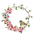 Watercolor wreath with tree branches, apple blossom, bird and birdhouse. Hand painted floral illustration isolated on white background. Spring elements for design.