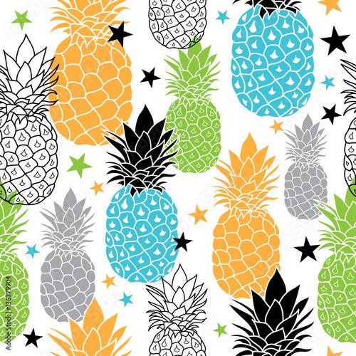 kolorowe-ananasy-wektor-powtorzyc-bezszwowe-pattrern-w-kolorach-czarny-niebieski-pomaranczowy-i-zielony-doskonaly