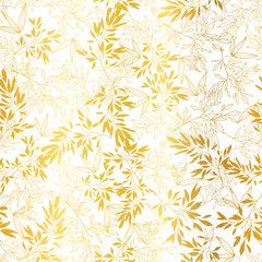 FototapetaVector Gold on White Asian Leaves Seamless Pattern Background. Great for tropical vacation fabric, cards, wedding invitations, wallpaper.