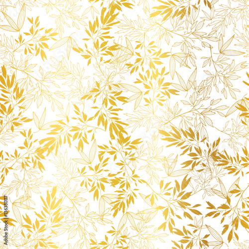 Vector Gold On White Asian Leaves Seamless Pattern Background Great