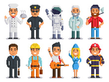 Pixel Art Characters Set, Different Professions People Isolated Group Design. Chef, Policeman, Cosmonaut, Doctor, Woodcutter, Businessman, Builder, Musician, Stewardess, Firefighter. Vector 8 Bit Art.