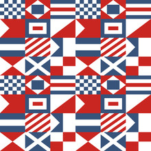 Nautical Seamless Pattern With International Maritime Signal Flags