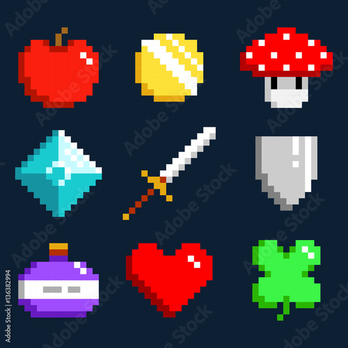 Foto op Aluminium Pixel Set of minimalistic pixel art vector objects isolated. game 8 bit style. minimalistic pixel graphic symbols group collection. apple, coin, mushroom, diamond, sword, shield, potion, heart, lucky clever