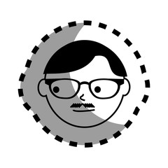 sticker with man face monochrome with glasses and mustache style english vector illustration