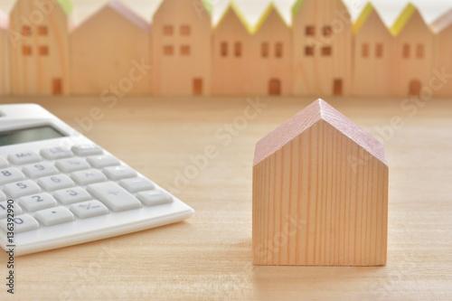 Zdjęcie XXL Drewniany dom kalkulator pejzaż miejski