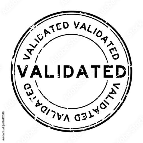 Grunge Black Validate Round Rubber Stamp On White Background