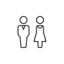 Man And Woman Line Icon, Outline Vector Sign, Linear Pictogram Isolated On White. Couple Symbol, Logo Illustration