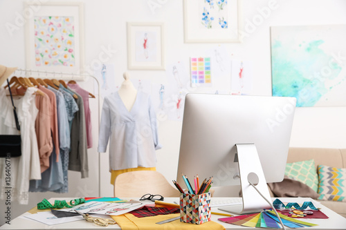 Modern Interior Of Fashion Designer Workplace Buy This Stock Photo