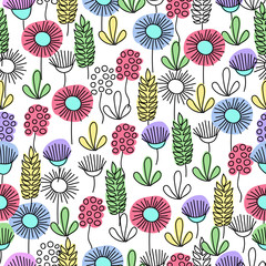 Fototapeta graphic flowers. Doodle. seamless pattern