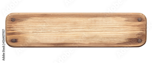Rustic wood board with nails - 136407937