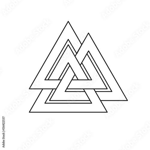 Valknut Symbol Three Interlaced Triangles Symbolize The Three