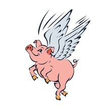 Funny Pink Flying Pig With Win...