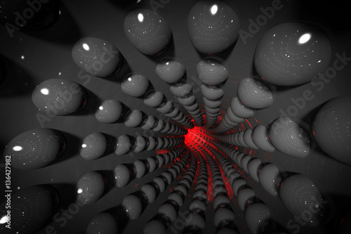 Abstract black geometric background with tunnel made of spheres. 3d render