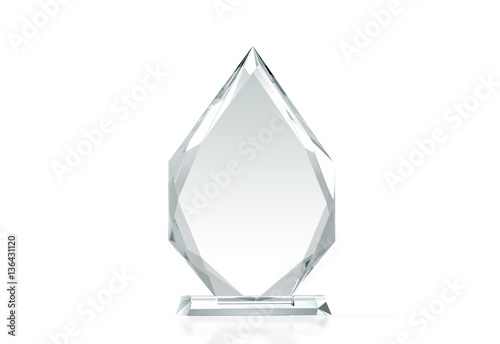 Fotografía  Blank arrow shape glass trophy mockup, 3d rendering