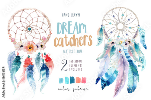 Fotografia, Obraz  Isolated Watercolor decoration bohemian dreamcatcher. Boho feath
