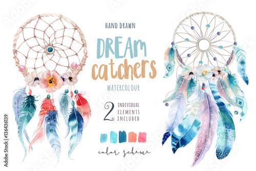 Photo  Isolated Watercolor decoration bohemian dreamcatcher. Boho feath