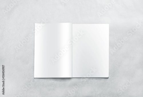 opened blank magazine pages mockup isolated on textured background