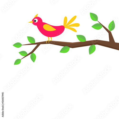 Cute cartoon bird sitting on a birch