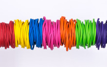 Multicolor Elastic Rubber Bands On White Background