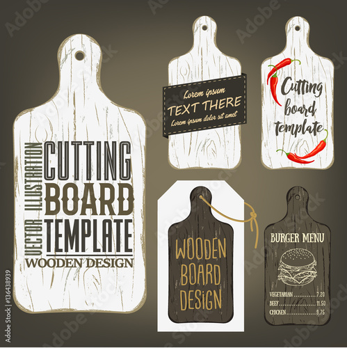 Fotografie, Obraz  Wood cutting board template with usage examples