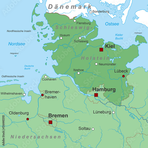 Bundesland Schleswig Holstein Landkarte In Grun Buy This