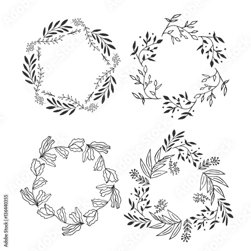 Set of floral vine wreaths. Hand drawn vector illustration