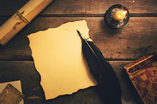 Vintage Quill Pen On Old Blank...