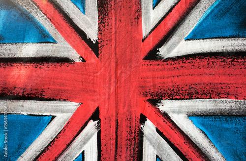 Poster  Flag of United Kingdom, British flag design background, paint on fabric