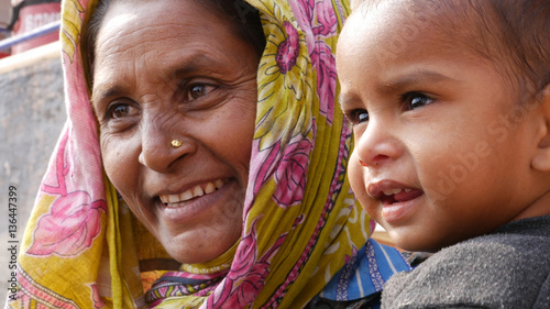 Poster Lieu connus d Asie Indian Mum with her son