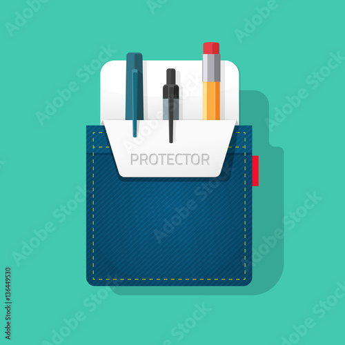 Foto  Pocket protector vector illustration, flat style jeans shirt pocket with pen and