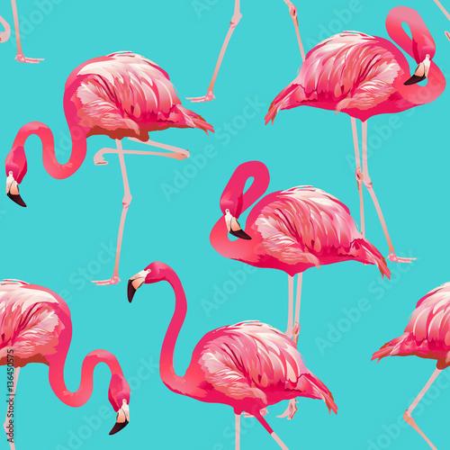 Canvas Prints Flamingo Tropical Bird Flamingo Background - Seamless pattern vector