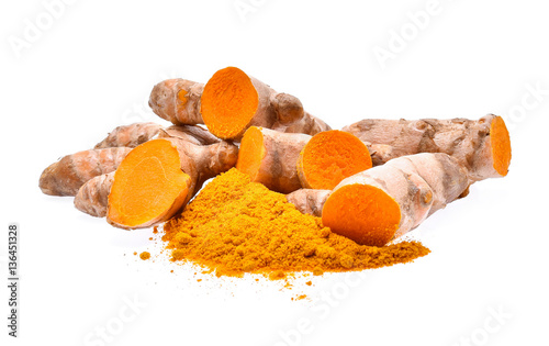 Poster Condiments Turmeric powder isolated on white background