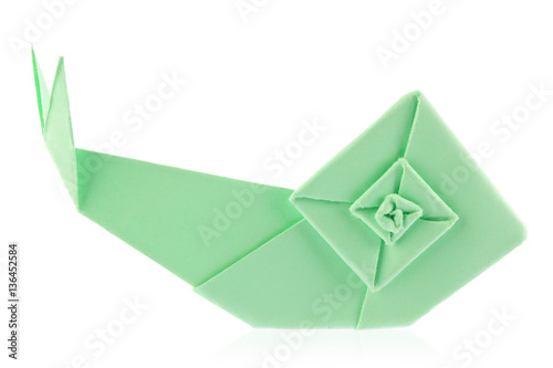 Green garden snail of origami