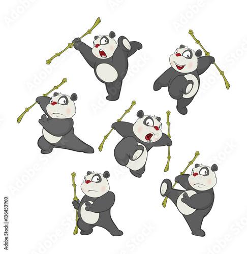 Poster de jardin Chambre bébé Illustration of a set of Funny Panda Bear. Cartoon Character