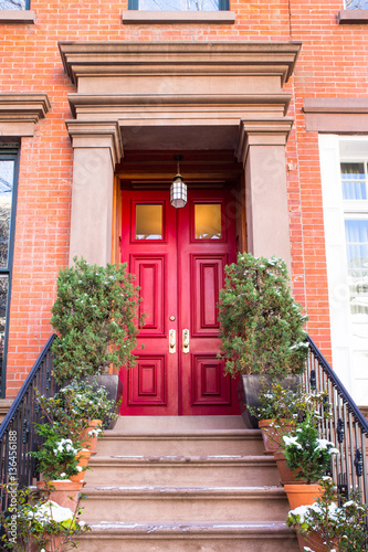 typical entrance door to a new york city apartment building