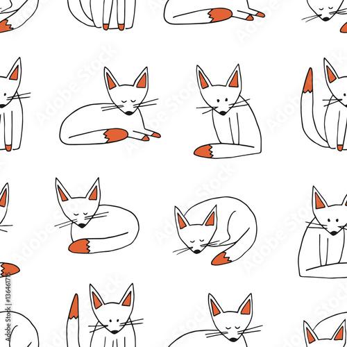 wzor-ladny-lisy-recznie-rysowane-doodle-zestaw-lis-kreskowka-tlo-tapeta-baner-tekstura-tlo-ilustracji-wektorowych-pojedynczo