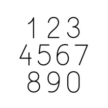 Numbers Numerals Line Icons Set Black On White Background