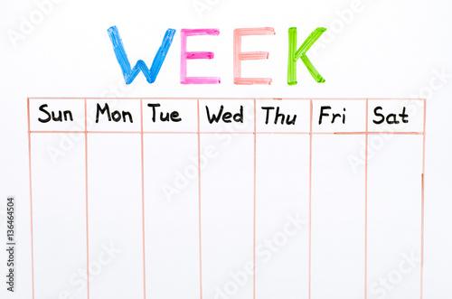 Obraz Seven days of the week writing on white board - fototapety do salonu