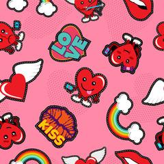 Valentines day social love emoji patch background