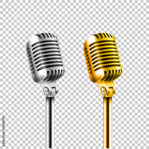 Different concert microphones collection vector illustration iso Fototapeta