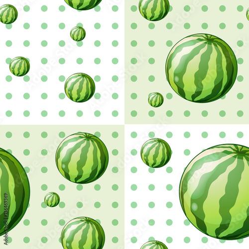 powielony-wzor-z-arbuzami-na-tle-w-zielone-kropki-polka-dots