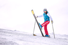 Skiing, Winter - Happy Girl Skier On Mountain