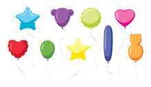 Carnival Balloons: Festive Set Of Colorful Balloons In Different Shapes
