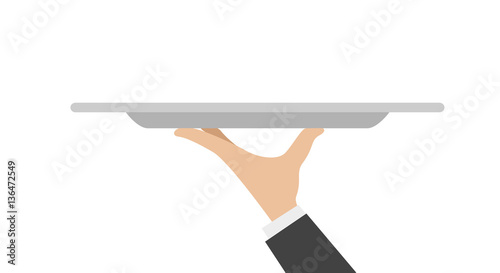 Fototapeta waiter tray with hand