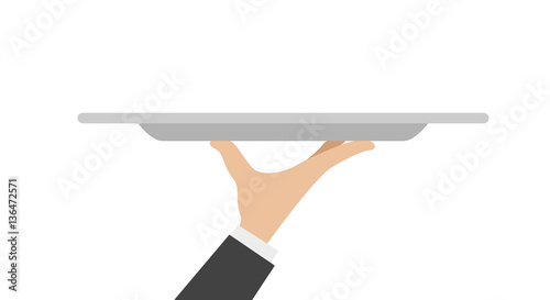 waiter tray with hand Wallpaper Mural